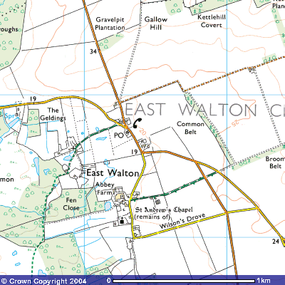 Map showing East Walton